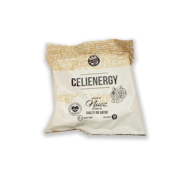 "Alfajor ""Celienergy"" - de Chocolate Blanco a base de harina de nuez."